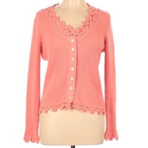Soft Surroundings pink peach crochet cardigan lg
